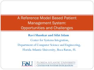 A Reference Model Based Patient Management System:  Opportunities and Challenges