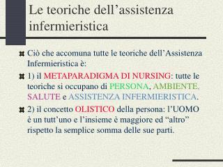 Le teoriche dell assistenza infermieristica