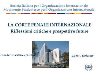 LA CORTE PENALE INTERNAZIONALE Riflessioni critiche e prospettive future