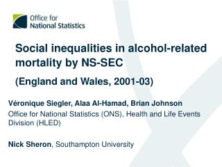 Social inequalities in alcohol-related mortality by NS-SEC (England and Wales, 2001-03)
