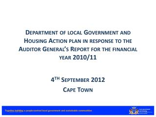4 th  September 2012 Cape Town