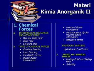 Materi  Kimia Anorganik II