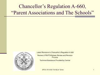 "Chancellor's Regulation A-660, ""Parent Associations and The Schools"""