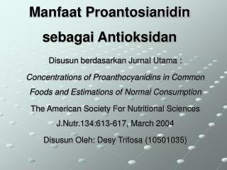 Manfaat Proantosianidin sebagai Antioksidan