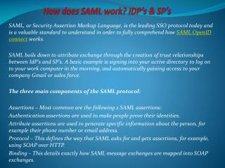 How does SAML work? IdP's & SP's