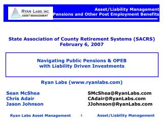 Asset/Liability Management  Pensions and Other Post Employment Benefits