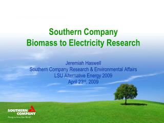 Southern Company Biomass to Electricity Research