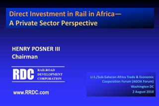 U.S./Sub-Saharan Africa Trade & Economic Cooperation Forum (AGOA Forum) Washington DC