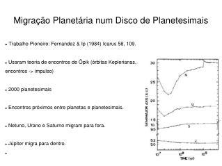 Migração Planetária num Disco de Planetesimais