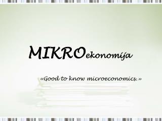 MIKRO ekonomija