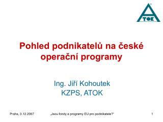 Pohled podnikatelů na české operační programy