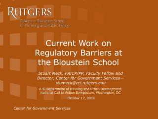 Current Work on Regulatory Barriers at the Bloustein School