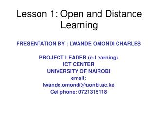 Lesson 1: Open and Distance Learning