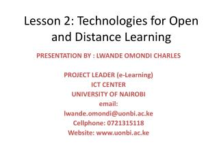 Lesson 2: Technologies for Open and Distance Learning