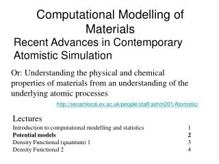 Computational Modelling of Materials