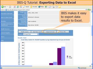IBIS-Q Tutorial:  Exporting Data to Excel