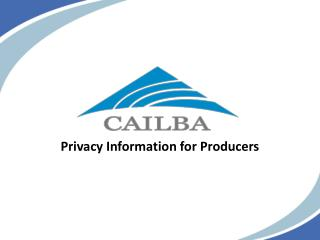 Privacy Information for Producers