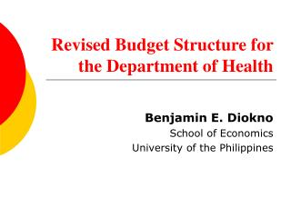 Revised Budget Structure for the Department of Health
