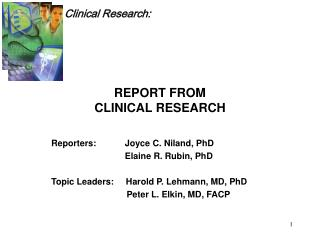 REPORT FROM  CLINICAL RESEARCH