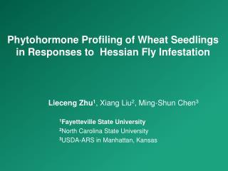Phytohormone  Profiling of Wheat Seedlings in Responses to  Hessian Fly Infestation