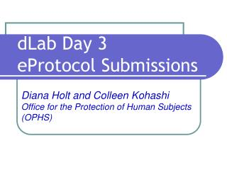 dLab Day 3 eProtocol Submissions