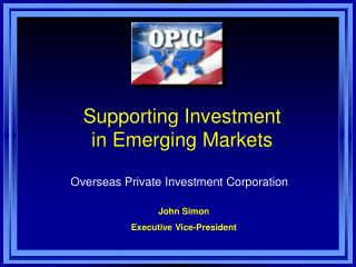 Supporting Investment  in Emerging Markets