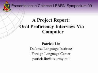 Presentation in Chinese LEARN Symposium 09