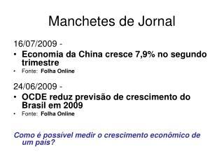 Manchetes de Jornal