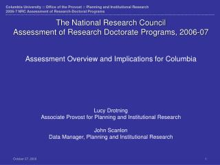 The National Research Council  Assessment of Research Doctorate Programs, 2006-07