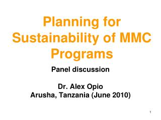 Planning for Sustainability of MMC Programs