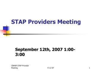 STAP Providers Meeting