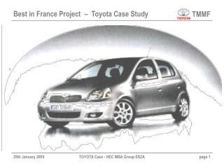 Best in France Project  –  Toyota Case Study