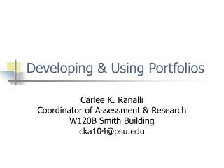 Developing & Using Portfolios