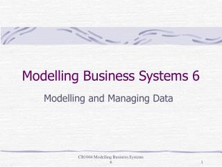 Modelling Business Systems 6