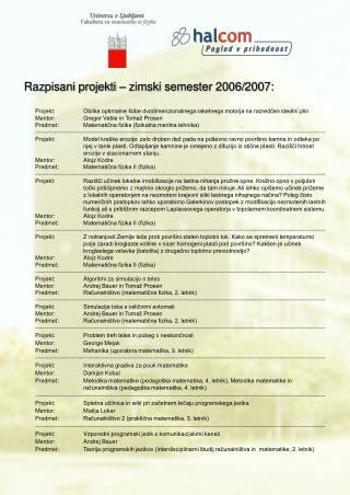 Razpisani projekti – zimski semester 2006/2007:
