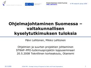 Ohjelmajohtaminen Suomessa – valtakunnallisen kyselytutkimuksen tuloksia