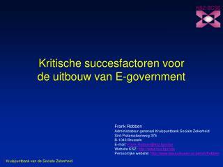 Kritische succesfactoren voor de uitbouw van E-government