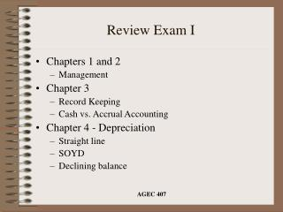 Review Exam I