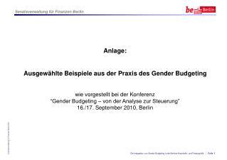 Praxisbeispiele vom Berliner Gender-Budgeting-Kongress im September 2010 � 1. Tag