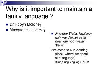 Why is it important to maintain a family language ?