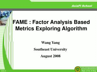 Wang Yang Southeast University August 2008