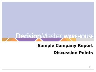 Sample Company Report  Discussion Points