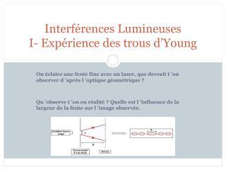 Interférences Lumineuses I- Expérience des trous d'Young