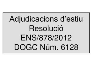 Adjudicacions d'estiu Resolució ENS/878/2012 DOGC Núm. 6128