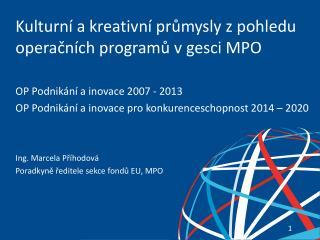 Kulturní a kreativní průmysly z pohledu operačních programů v gesci MPO