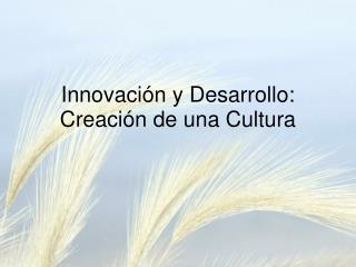 Innovaci n y Desarrollo: Creaci n de una Cultura