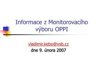 Informace z Monitorovacího výboru OPPI