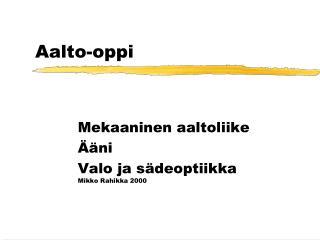 Aalto-oppi