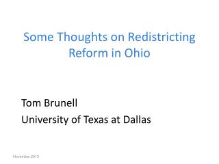 Some Thoughts on Redistricting Reform in Ohio