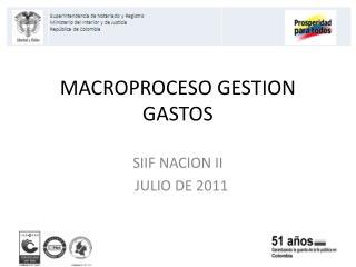 MACROPROCESO GESTION GASTOS